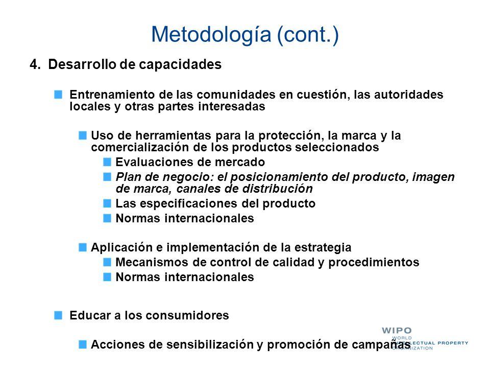 Metodología (cont.) 4. Desarrollo de capacidades