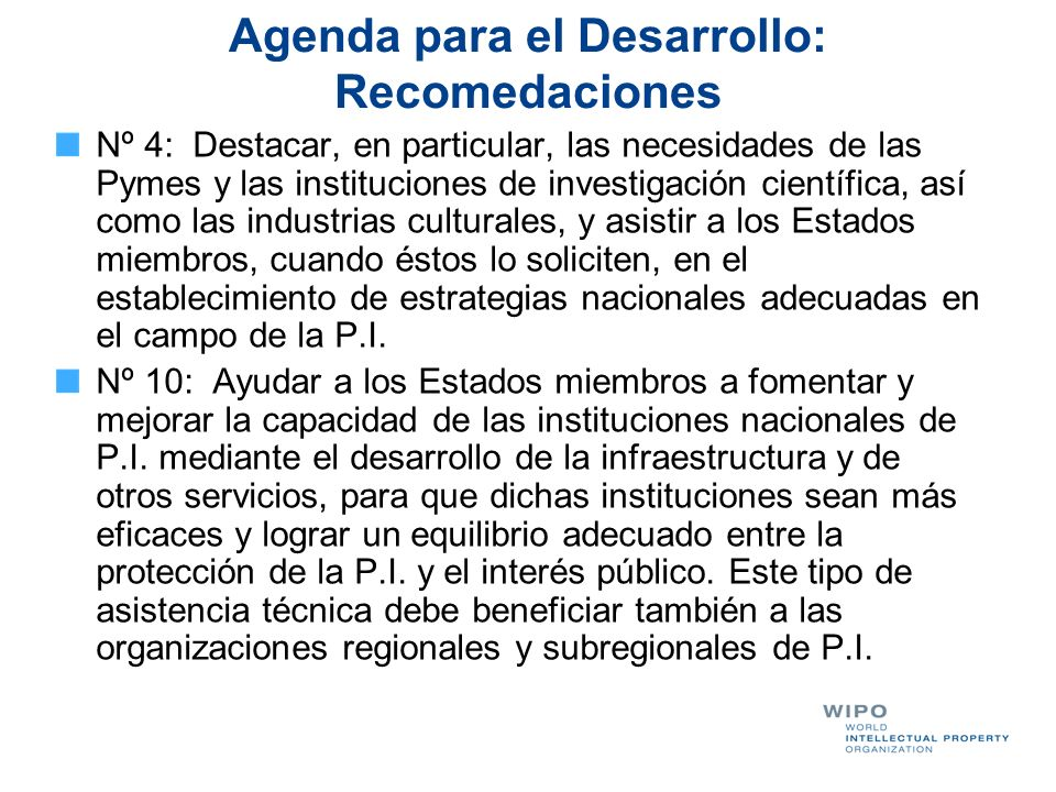 Agenda para el Desarrollo: Recomedaciones