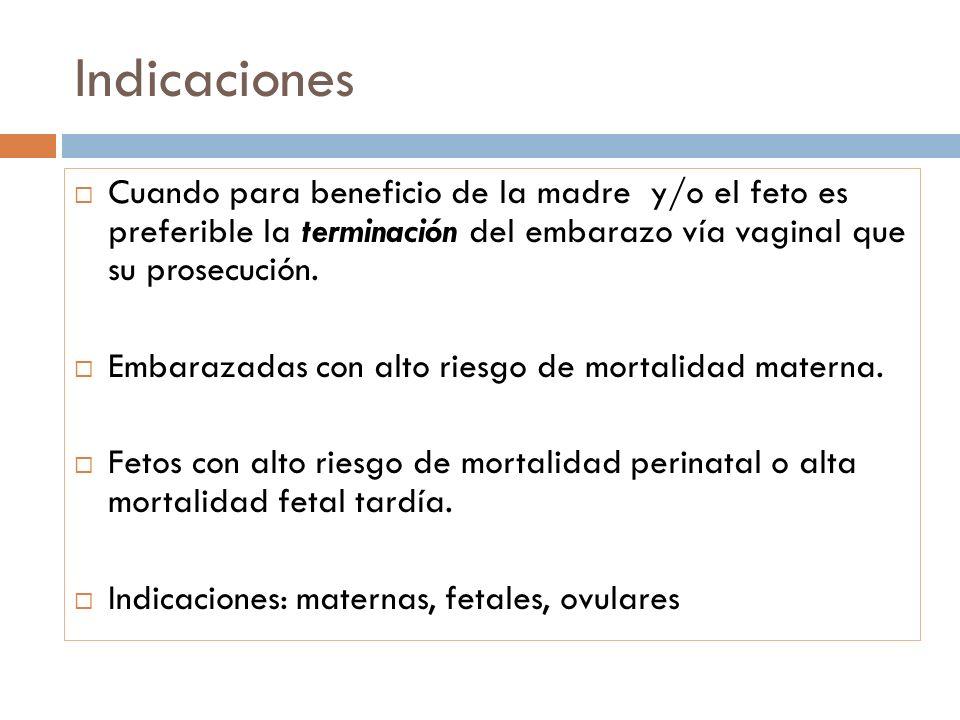 Indicaciones Cuando para beneficio de la madre y/o el feto es preferible la terminación del embarazo vía vaginal que su prosecución.