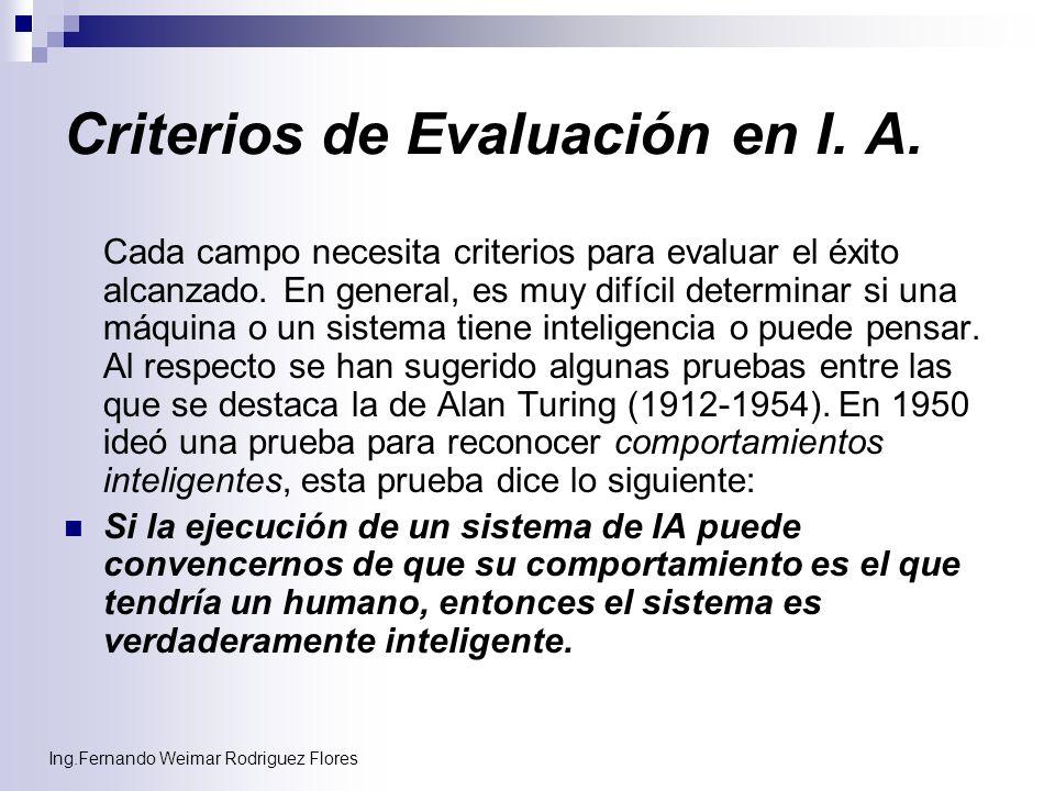 Criterios de Evaluación en I. A.