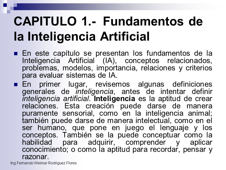 CAPITULO 1.- Fundamentos de la Inteligencia Artificial