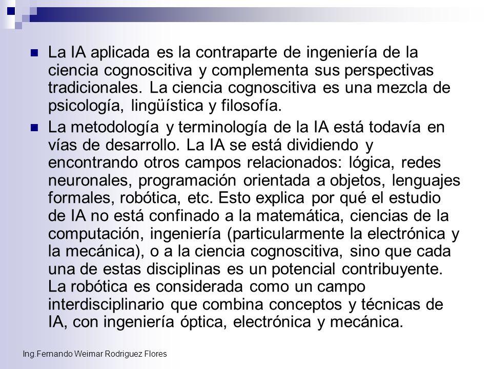 La IA aplicada es la contraparte de ingeniería de la ciencia cognoscitiva y complementa sus perspectivas tradicionales. La ciencia cognoscitiva es una mezcla de psicología, lingüística y filosofía.