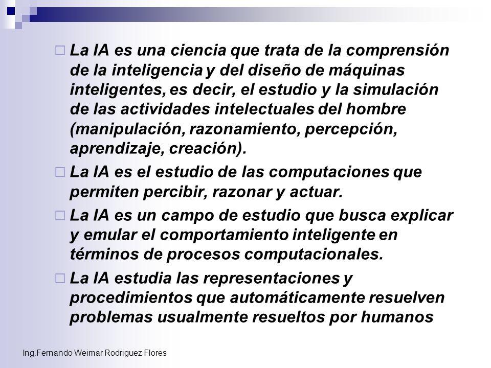 La IA es una ciencia que trata de la comprensión de la inteligencia y del diseño de máquinas inteligentes, es decir, el estudio y la simulación de las actividades intelectuales del hombre (manipulación, razonamiento, percepción, aprendizaje, creación).