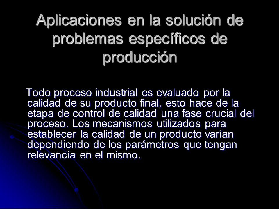Aplicaciones en la solución de problemas específicos de producción