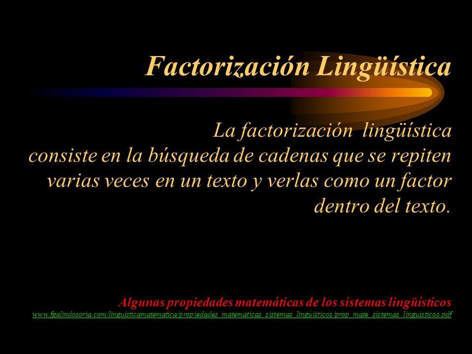 Factorización Lingüística La factorización lingüística consiste en la búsqueda de cadenas que se repiten varias veces en un texto y verlas como un factor dentro del texto.
