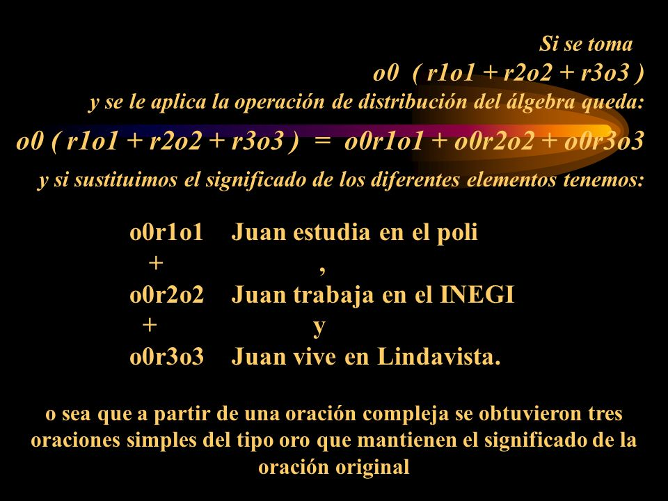 Si se toma o0 ( r1o1 + r2o2 + r3o3 ) y se le aplica la operación de distribución del álgebra queda: o0 ( r1o1 + r2o2 + r3o3 ) = o0r1o1 + o0r2o2 + o0r3o3 y si sustituimos el significado de los diferentes elementos tenemos: