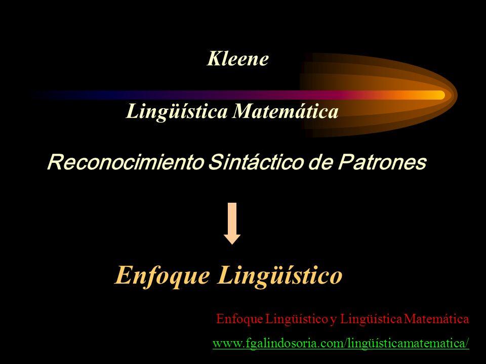 Kleene Lingüística Matemática Reconocimiento Sintáctico de Patrones