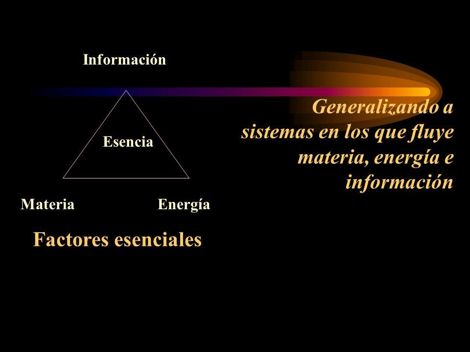 Información Materia. Energía. Esencia. Generalizando a sistemas en los que fluye materia, energía e información.