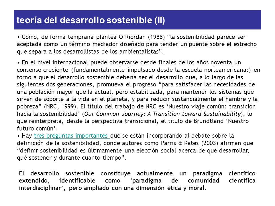 teoría del desarrollo sostenible (II)