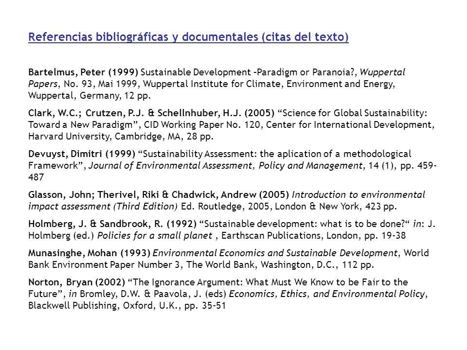Referencias bibliográficas y documentales (citas del texto)