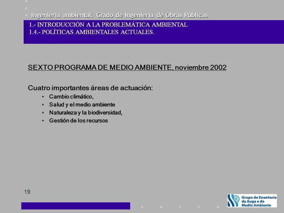 SEXTO PROGRAMA DE MEDIO AMBIENTE, noviembre 2002