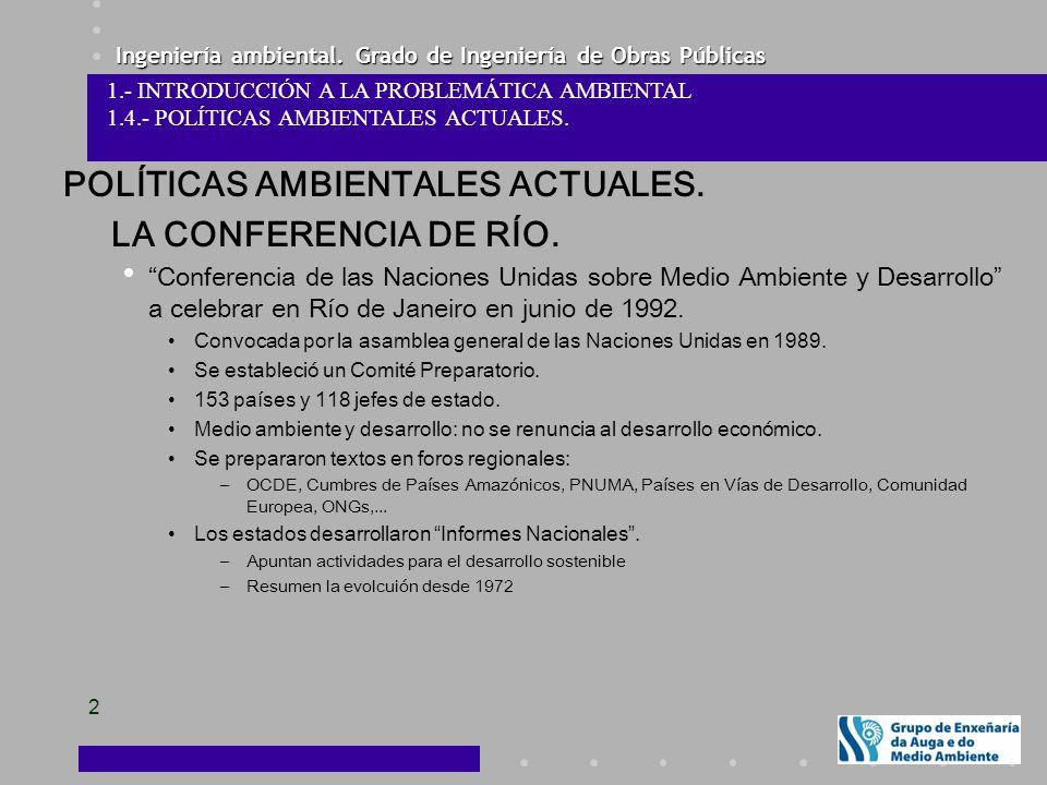 POLÍTICAS AMBIENTALES ACTUALES. LA CONFERENCIA DE RÍO.
