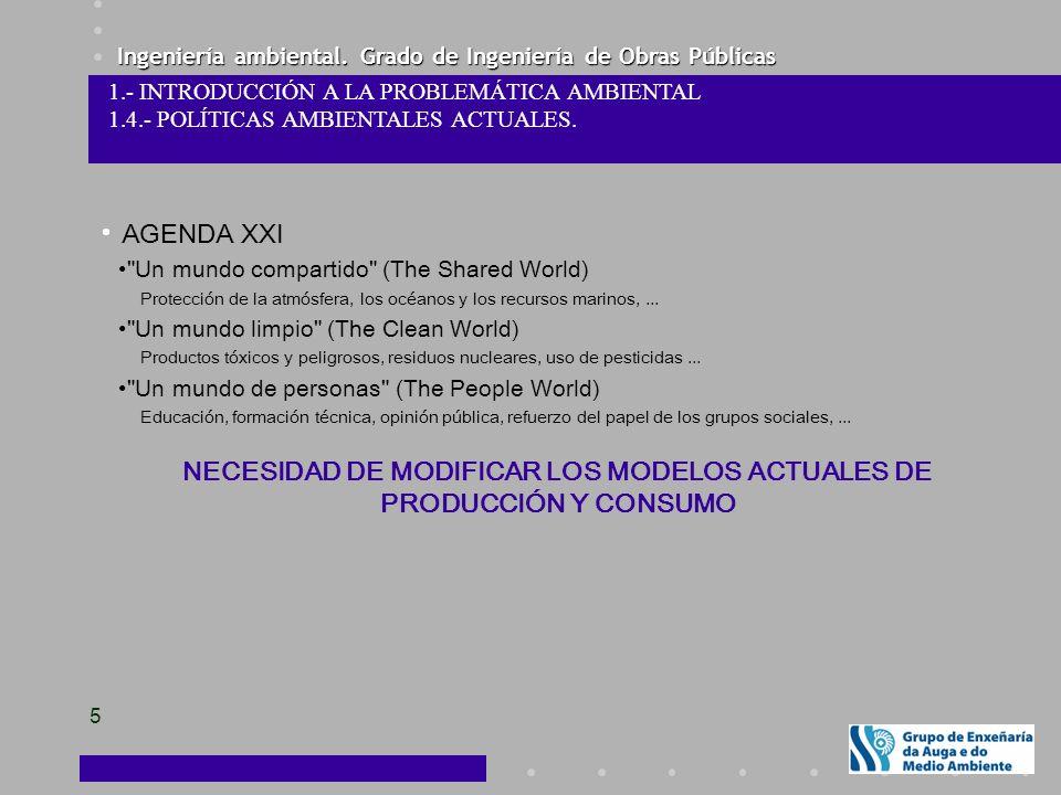 NECESIDAD DE MODIFICAR LOS MODELOS ACTUALES DE PRODUCCIÓN Y CONSUMO