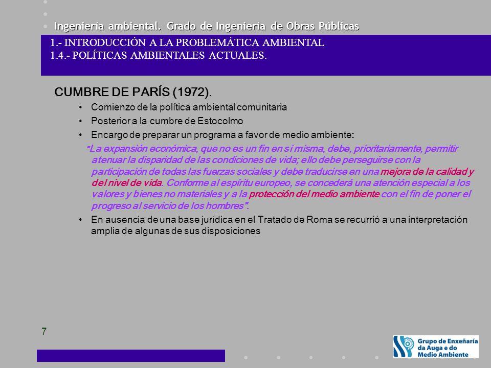 CUMBRE DE PARÍS (1972). 1.- INTRODUCCIÓN A LA PROBLEMÁTICA AMBIENTAL