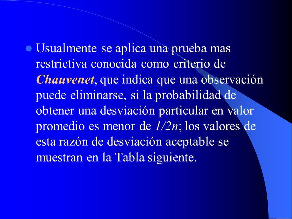 Usualmente se aplica una prueba mas restrictiva conocida como criterio de Chauvenet, que indica que una observación puede eliminarse, si la probabilidad de obtener una desviación particular en valor promedio es menor de 1/2n; los valores de esta razón de desviación aceptable se muestran en la Tabla siguiente.
