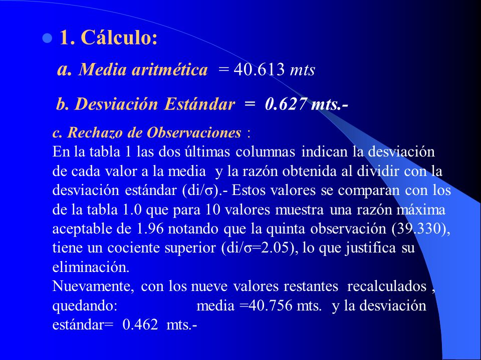 a. Media aritmética = 40.613 mts