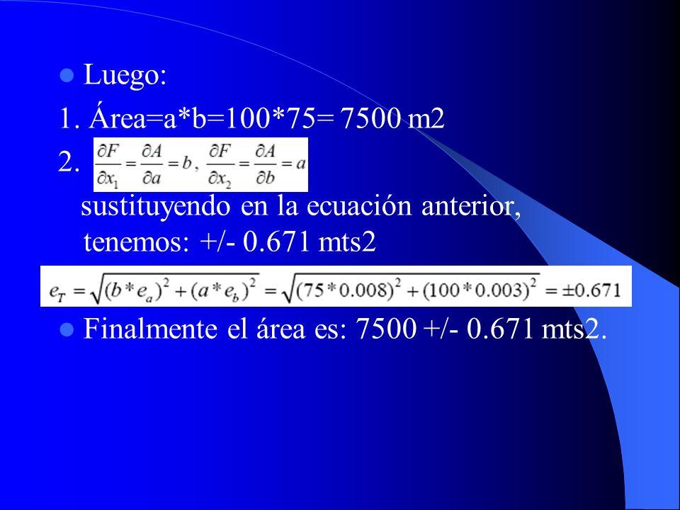Luego: 1. Área=a*b=100*75= 7500 m2. 2. sustituyendo en la ecuación anterior, tenemos: +/- 0.671 mts2.