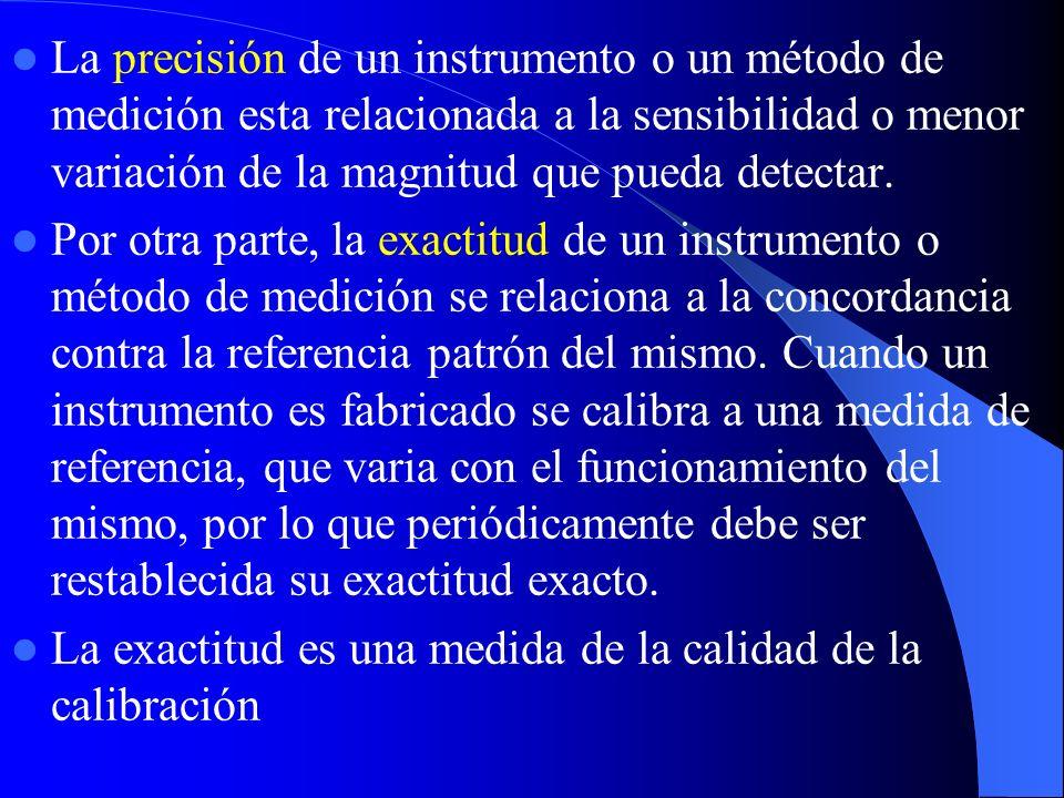 La precisión de un instrumento o un método de medición esta relacionada a la sensibilidad o menor variación de la magnitud que pueda detectar.