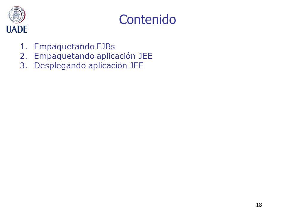 Contenido Empaquetando EJBs Empaquetando aplicación JEE