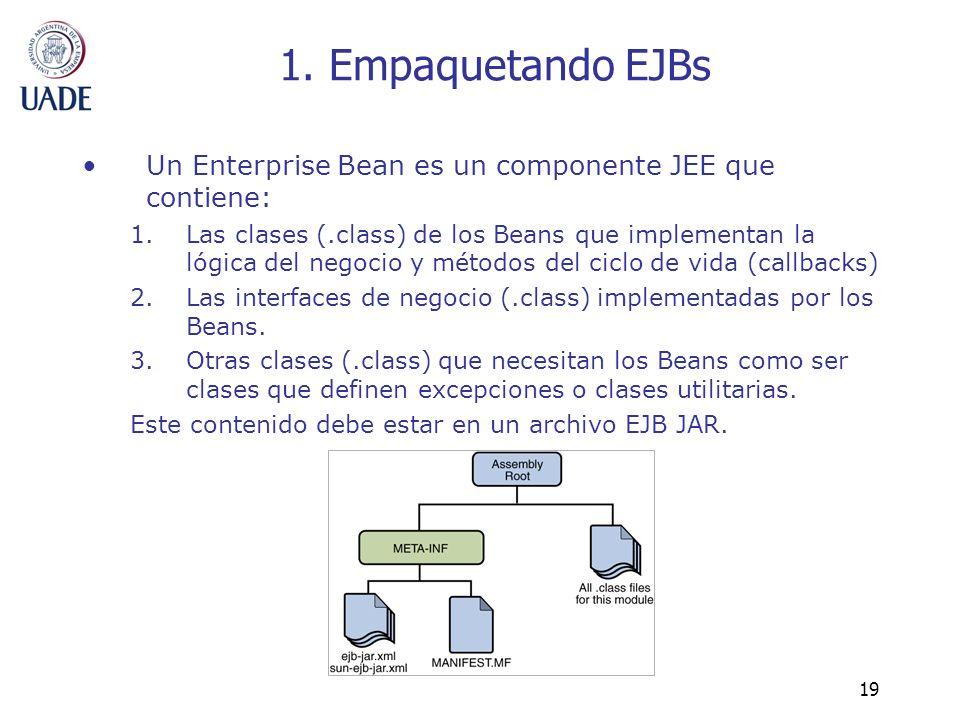 1. Empaquetando EJBs Un Enterprise Bean es un componente JEE que contiene:
