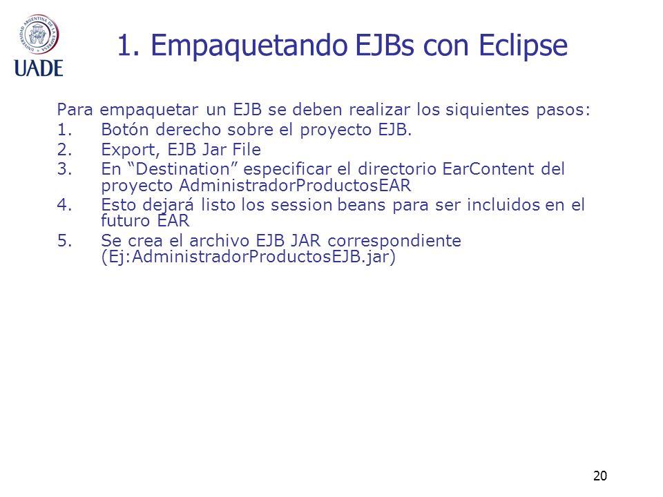 1. Empaquetando EJBs con Eclipse