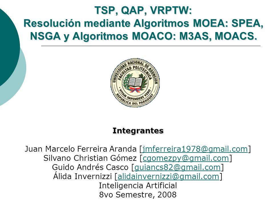 TSP, QAP, VRPTW: Resolución mediante Algoritmos MOEA: SPEA, NSGA y Algoritmos MOACO: M3AS, MOACS.