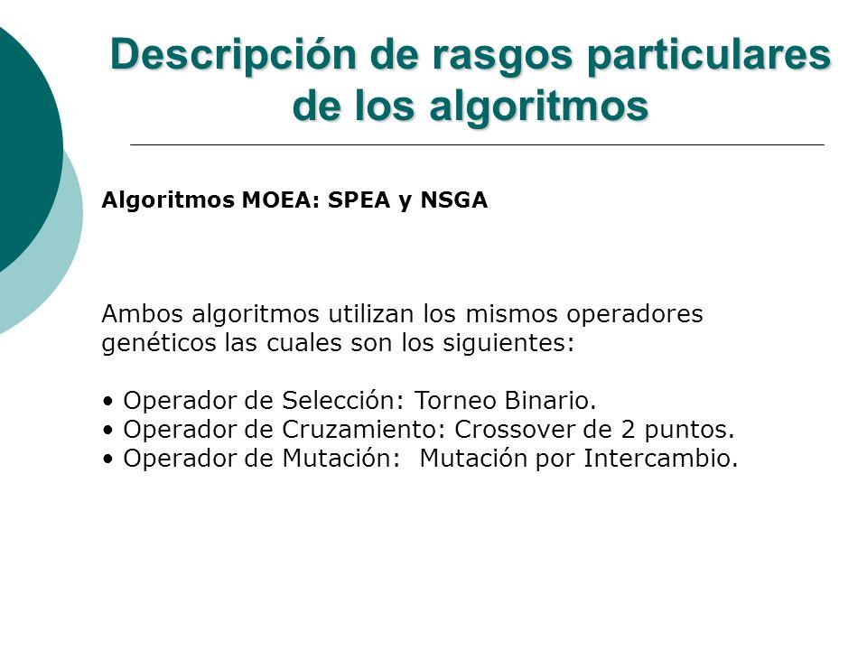 Descripción de rasgos particulares de los algoritmos