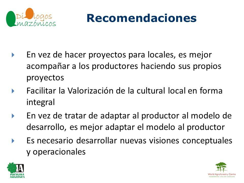 Recomendaciones En vez de hacer proyectos para locales, es mejor acompañar a los productores haciendo sus propios proyectos.