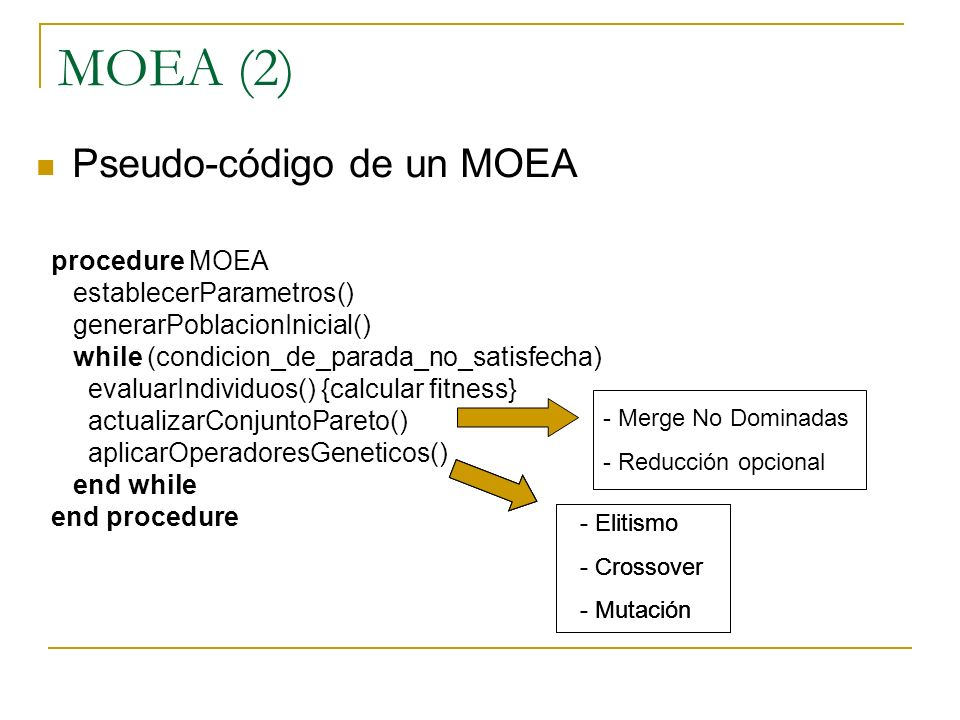 MOEA (2) Pseudo-código de un MOEA procedure MOEA