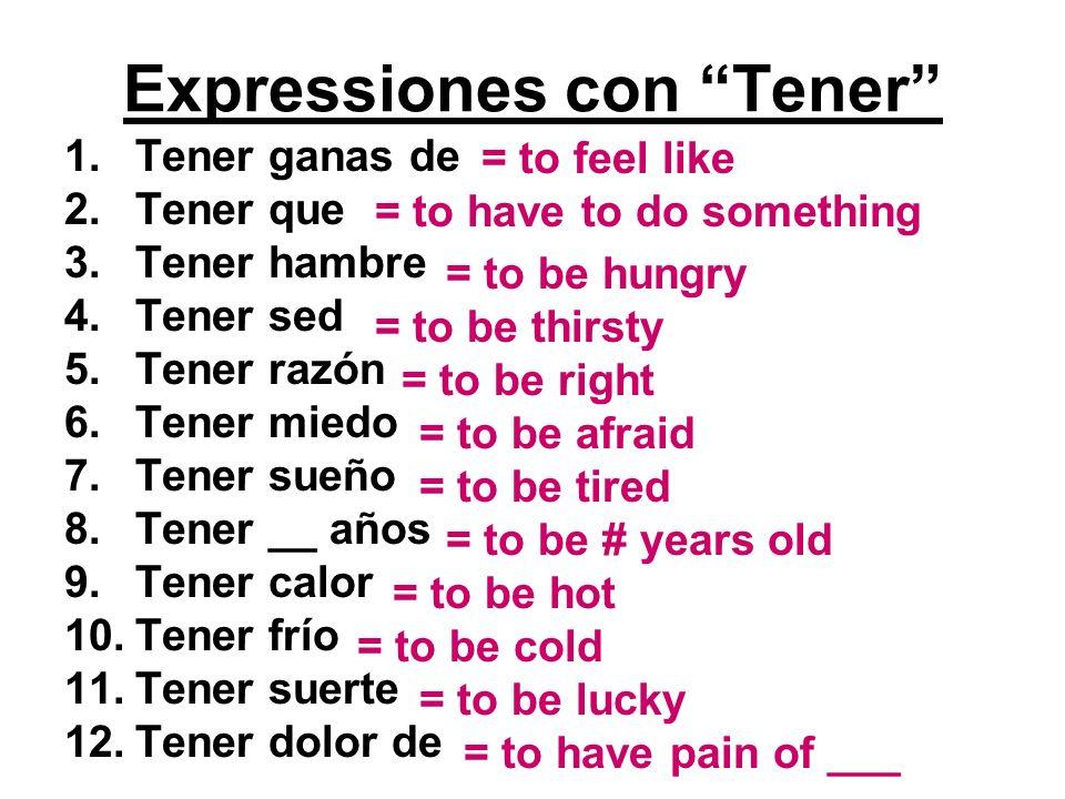 Expressiones con Tener