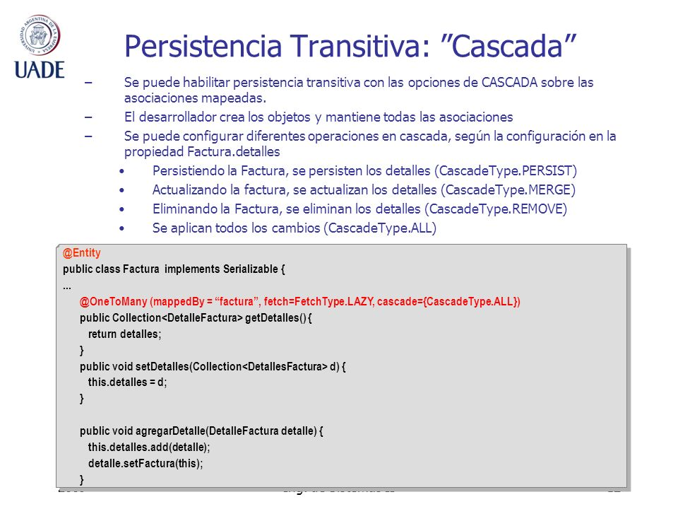 Persistencia Transitiva: Cascada