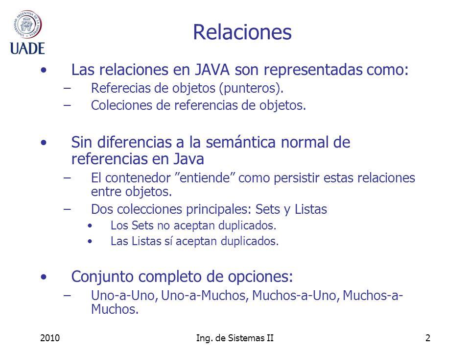 Relaciones Las relaciones en JAVA son representadas como:
