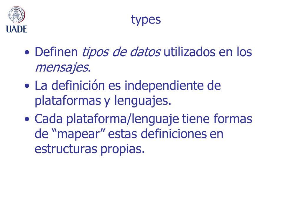 types Definen tipos de datos utilizados en los mensajes. La definición es independiente de plataformas y lenguajes.