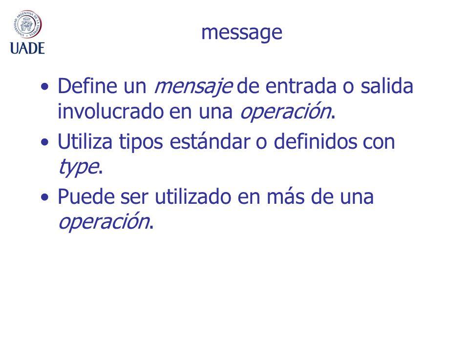 message Define un mensaje de entrada o salida involucrado en una operación. Utiliza tipos estándar o definidos con type.