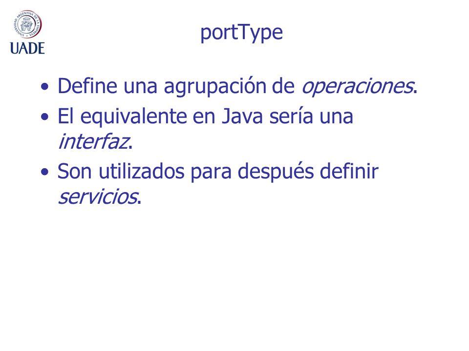 portType Define una agrupación de operaciones. El equivalente en Java sería una interfaz.