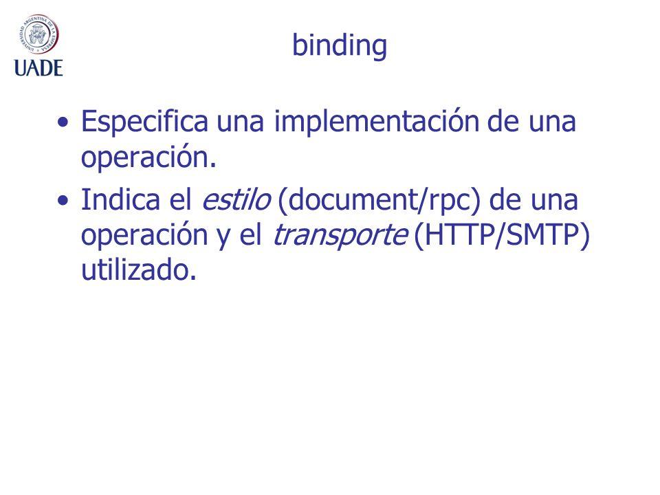 bindingEspecifica una implementación de una operación.