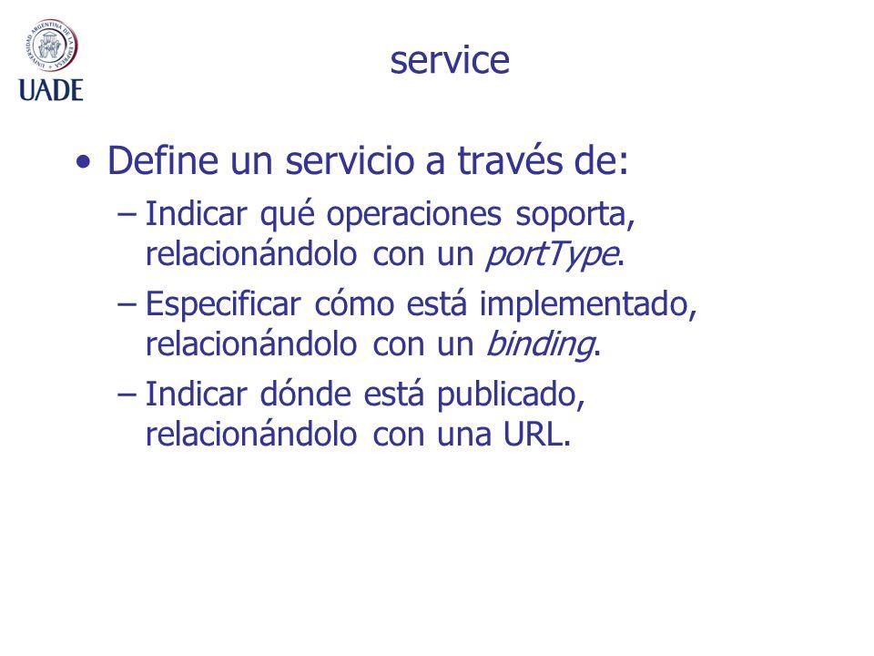 Define un servicio a través de: