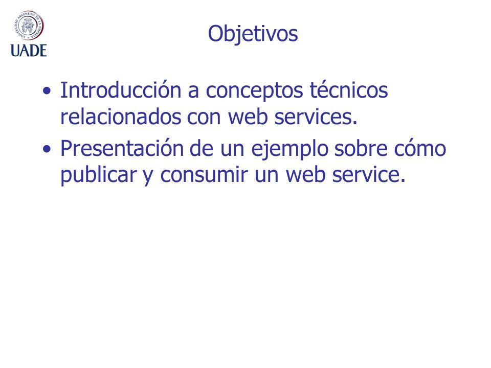 Objetivos Introducción a conceptos técnicos relacionados con web services.