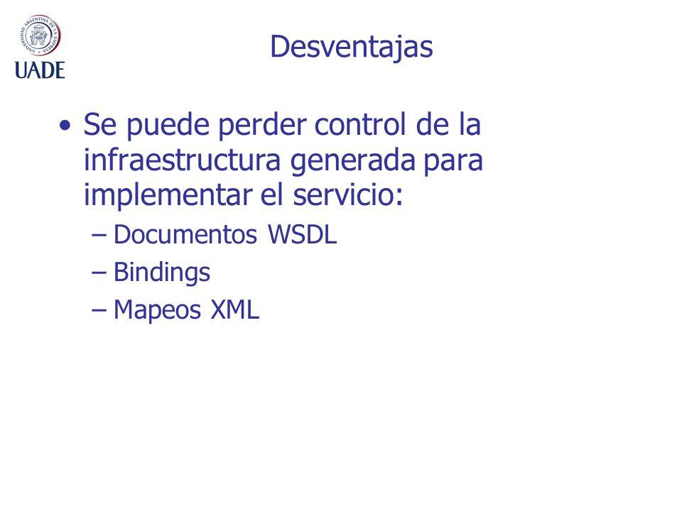 Desventajas Se puede perder control de la infraestructura generada para implementar el servicio: Documentos WSDL.