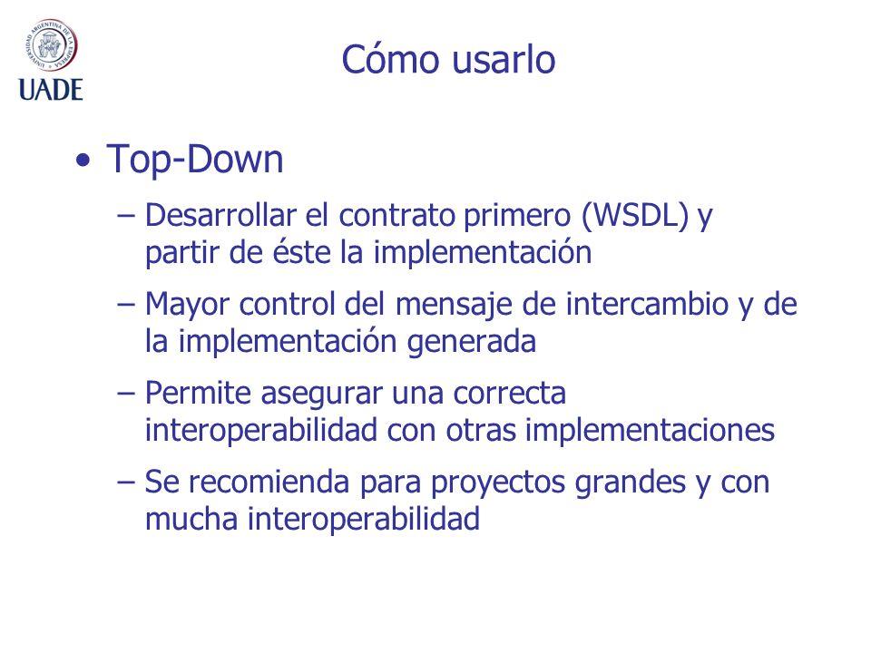 Cómo usarlo Top-Down. Desarrollar el contrato primero (WSDL) y partir de éste la implementación.