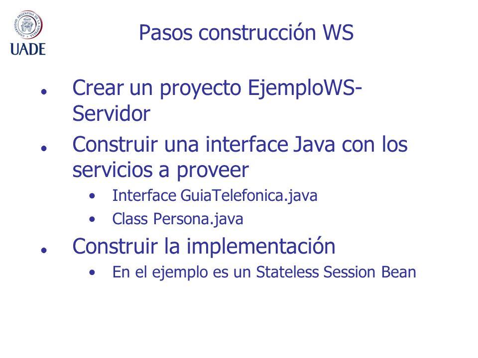 Crear un proyecto EjemploWS- Servidor