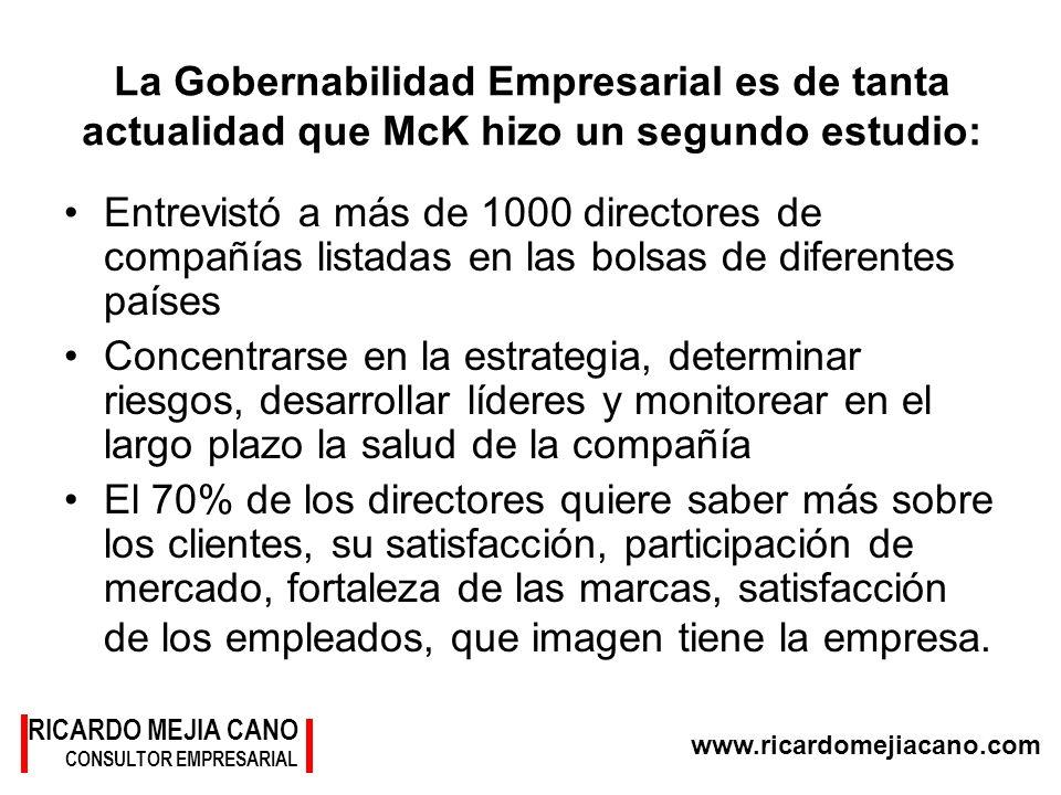 La Gobernabilidad Empresarial es de tanta actualidad que McK hizo un segundo estudio: