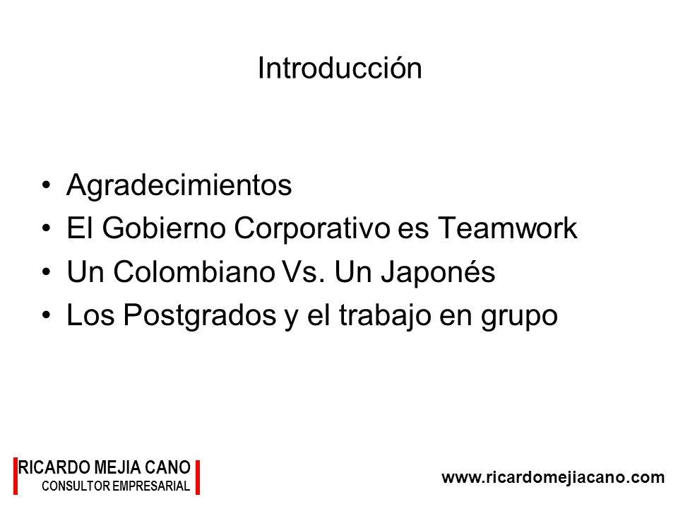 El Gobierno Corporativo es Teamwork Un Colombiano Vs. Un Japonés