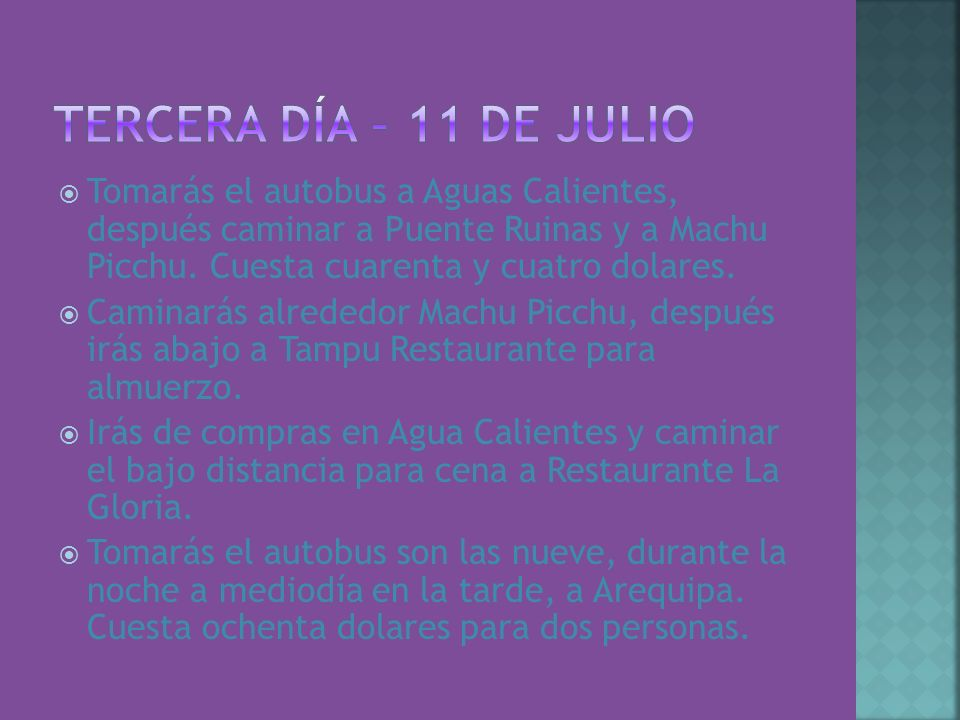 Tercera Día – 11 de julio Tomarás el autobus a Aguas Calientes, después caminar a Puente Ruinas y a Machu Picchu. Cuesta cuarenta y cuatro dolares.