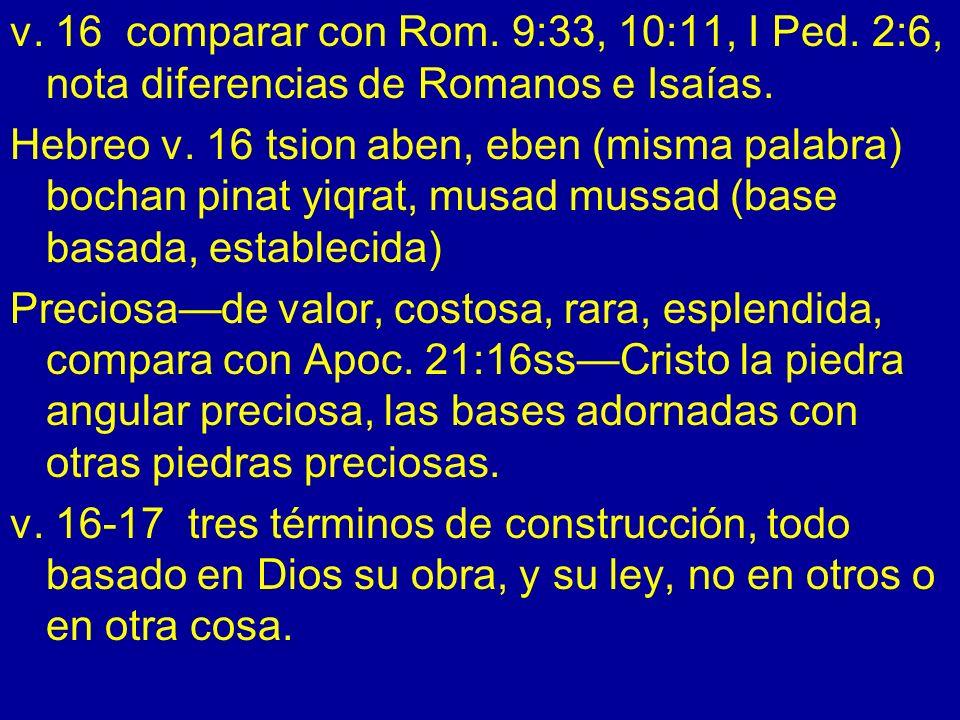 v. 16 comparar con Rom. 9:33, 10:11, I Ped