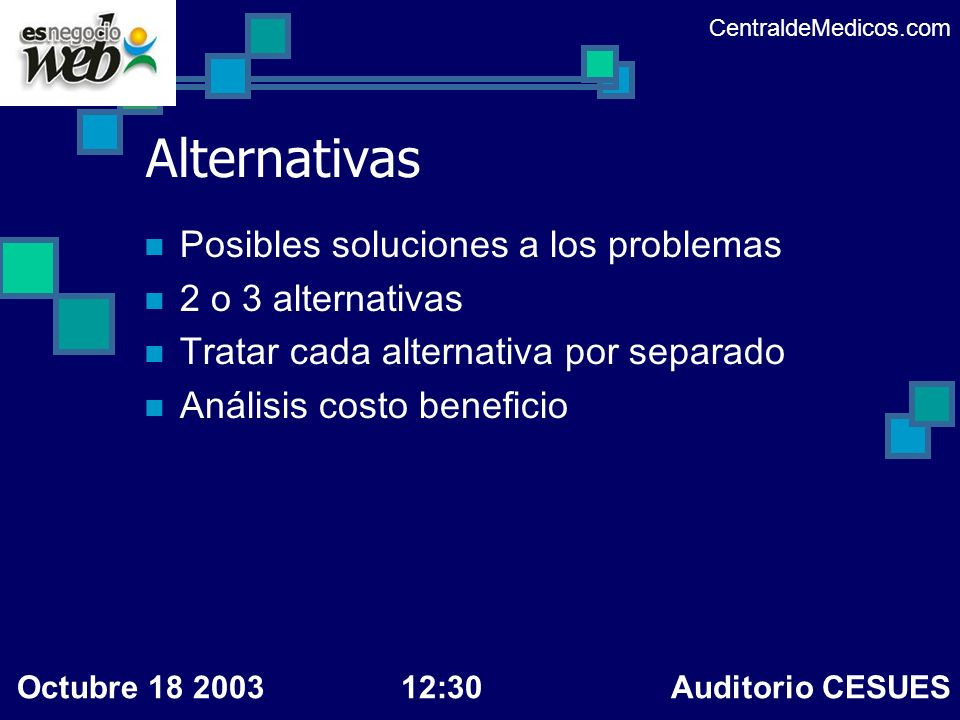 Alternativas Posibles soluciones a los problemas 2 o 3 alternativas