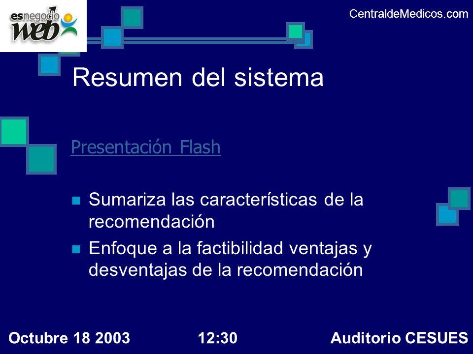 Resumen del sistema Presentación Flash