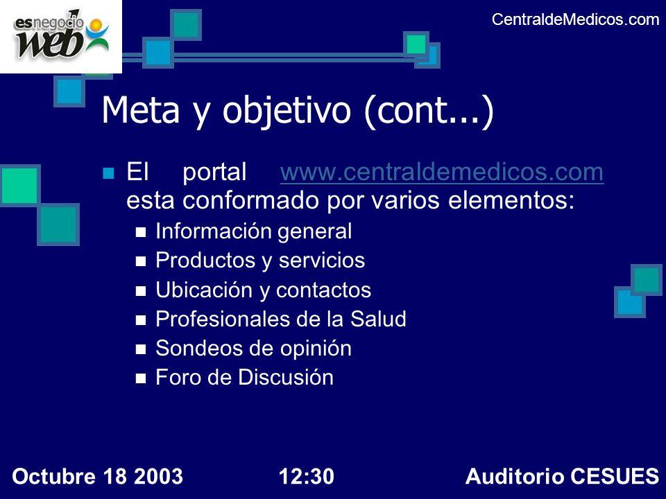 CentraldeMedicos.com Meta y objetivo (cont...) El portal www.centraldemedicos.com esta conformado por varios elementos: