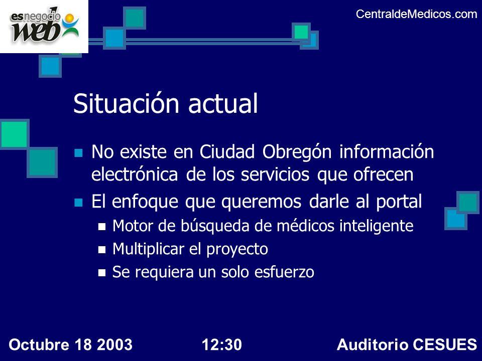 CentraldeMedicos.com Situación actual. No existe en Ciudad Obregón información electrónica de los servicios que ofrecen.