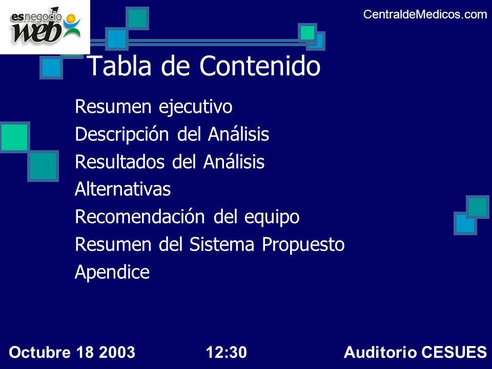 Tabla de Contenido Resumen ejecutivo Descripción del Análisis